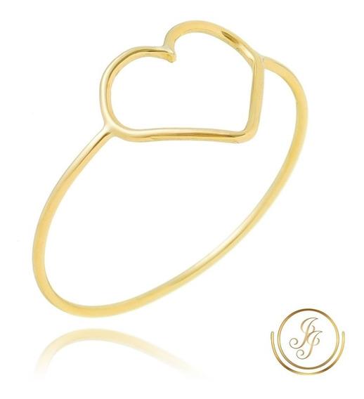 Promoção Anel Coração Ouro 18kl 750 Coração Vazado