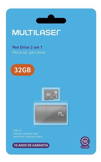 Pendrive+micro Sd 32gb Multilaser Mc163