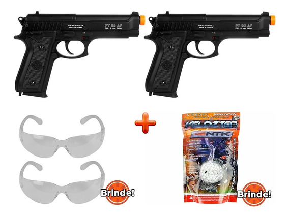 Pistolas Airsoft 02 Pt92 Slide Metal + Brinde