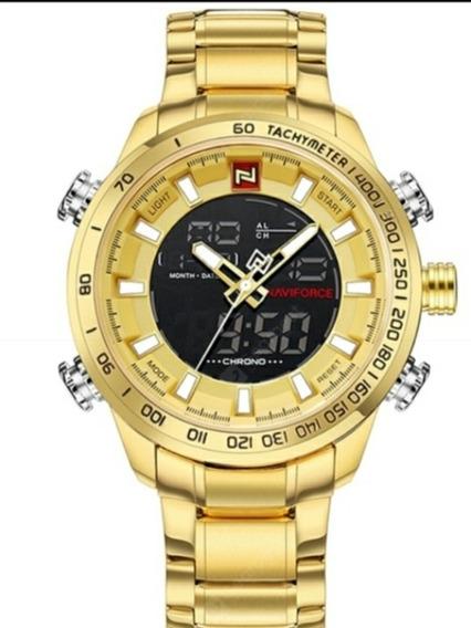 Relógio Naviforce Original 9093 Dourado A Prova D