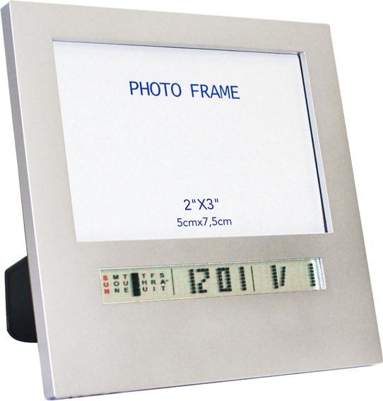 Porta Retrato Com Data E Hora Prata