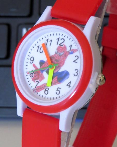 Relógio Do Homem Aranha Vermelho Analógico Infantil Top C307