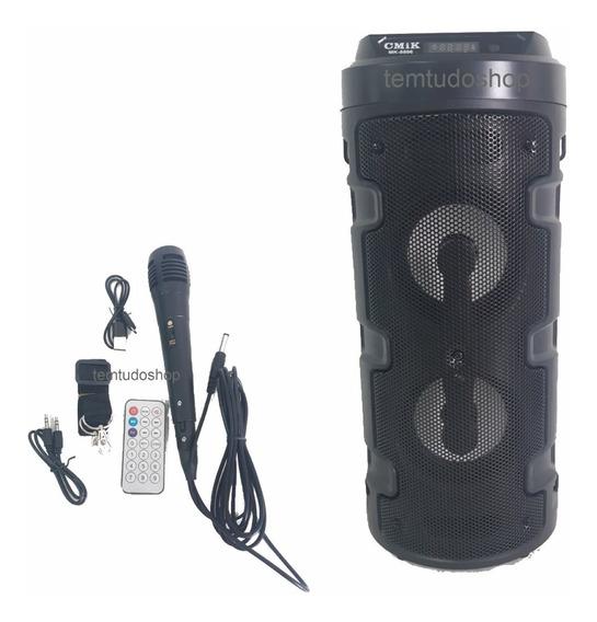 Caixa De Som Bluetooth Usb Led Microfone Controle Remoto