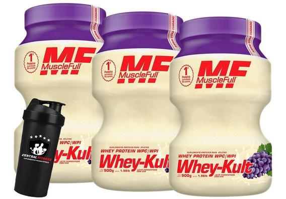 Kit 3x Whey Kult 900g Uva Muscle Full + Coqueteleira