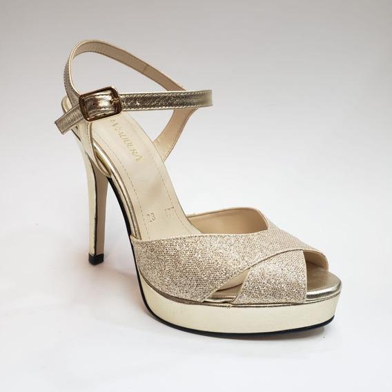 Sandalia Formal Elegante Glitter Plataforma
