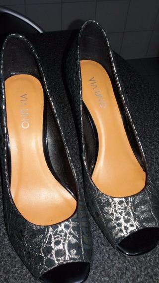 Zapatos Negro Y Plata Con Taco - Nro 37 Marca Via Uno