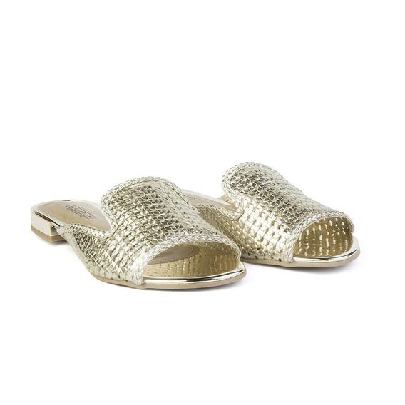 Sapato Oxford Mule Feminino Flamarian Dourado 45001