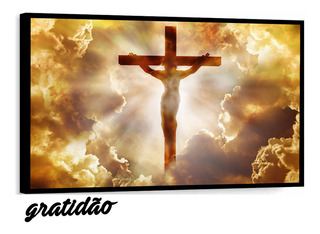 Quadro Decorativo Jesus Cristo Cruz Religião Com Moldura