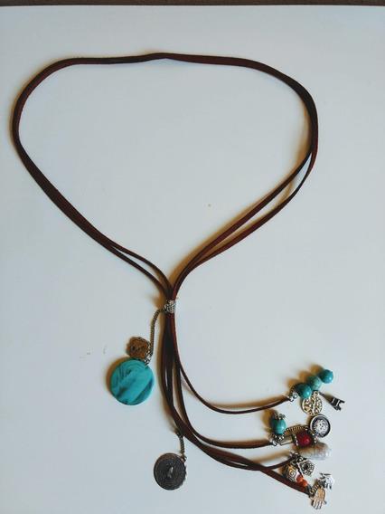 Colar Sorte Mística Boho Chic Amuletos Da Sorte Camurça