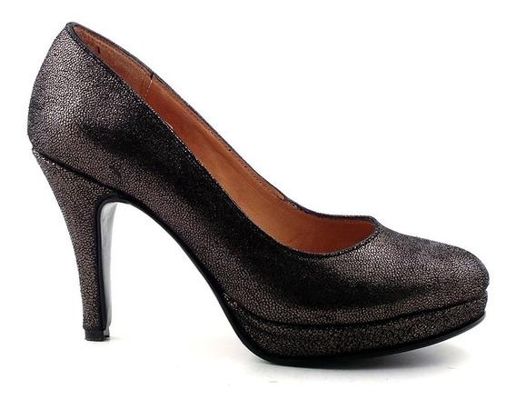 Zapato Mujer Cuero Briganti Taco 10 Cm. - Mccz03415 Pg