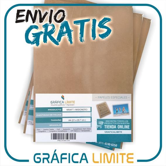 Papel Kraft A4 80 Resma 500 Hojas Madera Misionero Marron