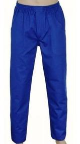 Calça Em Brim Uniforme Profissional Cinza Ou Azul Promoção