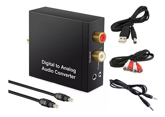 Conversor Óptico Digital Coaxial Toslink Para Rca P2 + Cabo Óptico + Cabo Rca + Cabo P2 - Kit Completo