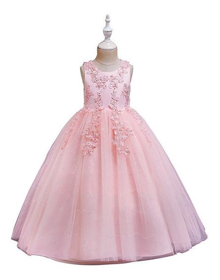 Vestido Fiesta Niña Elegante Perlas Bordadas Rosado Flamenco