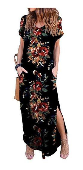 Vestido Verano Casual Cuello En V S -2xl