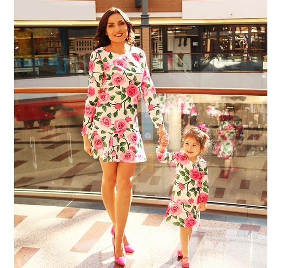 2pcs Vestido De Floral Madre E Hija Capellán-hijo