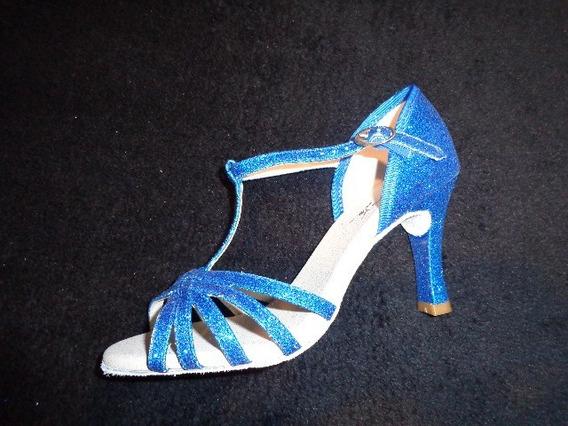 Sandália Capezio Glitter Azul Cj05 Dança De Festa