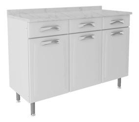Gabinete Cozinha Itatiaia Premium 3 Portas 3 Gav Aço Branco