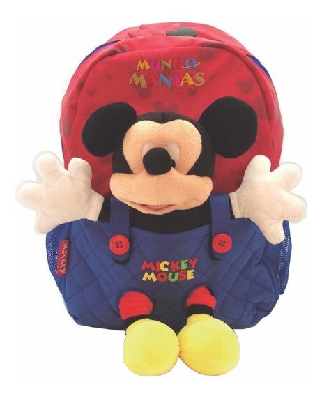 Mochila Espalda Jardin Disney Mickey Con Peluche Mundomanias