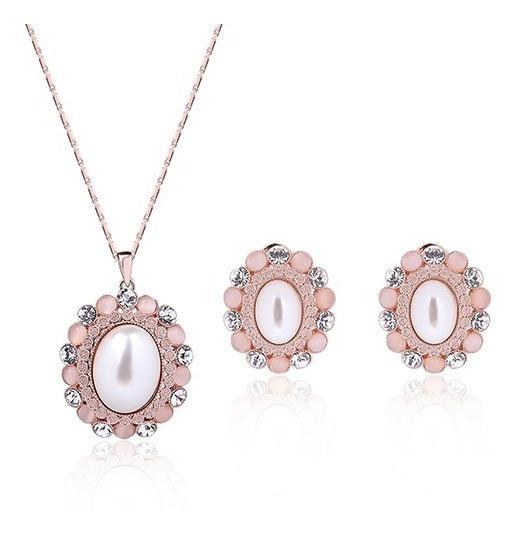Elegante Juego Collar Con Aretes Dorado Rosa Envio Gratis