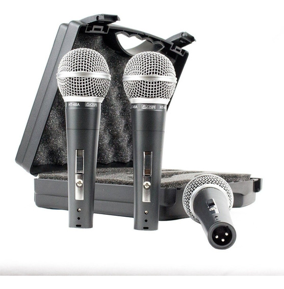 Kit C/ 3 Microfone De Mão Voz Igreja Csr 48ht C/ Nota Fiscal