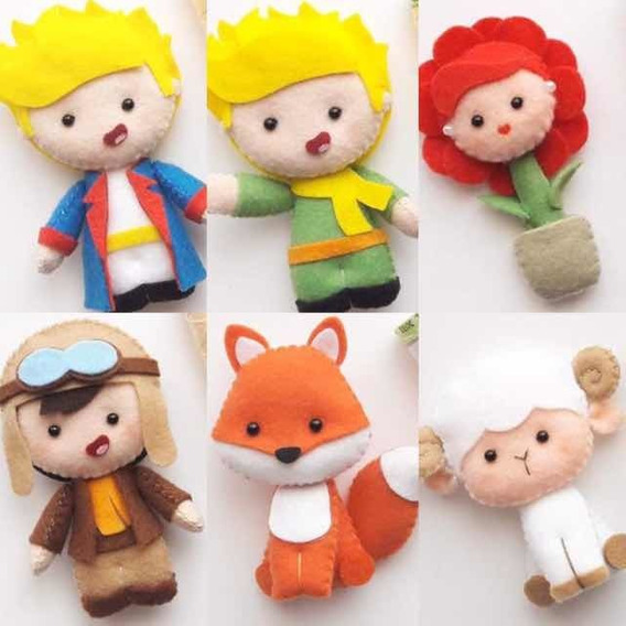 Bonecas De Feltro - Pequeno Príncipe - Kit Com 6 Pecas