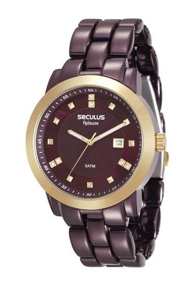 Relógio Seculus Feminino Vinho De Aço 20422lpsvma2