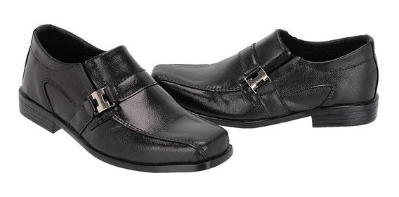 Sapato Social Infantil De Couro Com Metal Lindo Ref:330