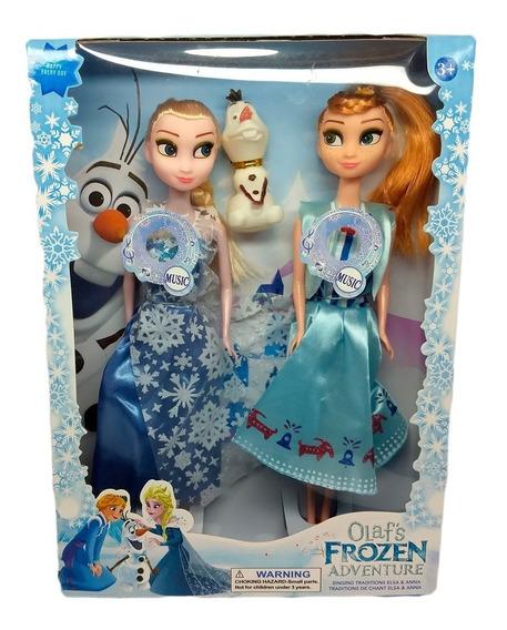 Kit De Bonecas Musicais Desenho Frozen: Ana + Elsa + Olaf