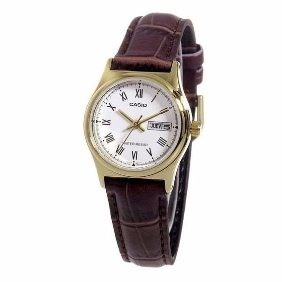 Relógio Casio Feminino Ltp-v006gl 7bu Dourado Couro Oferta