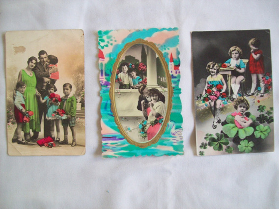 Lote De 3 Hermosas Tarjetas Postales Retro Coloreadas