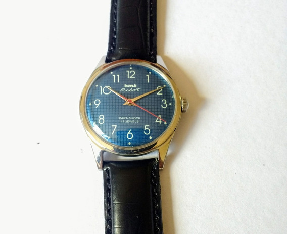Relógio Indiano Hmt Pilot Movimento Mecânico Fdo Quadro Azul