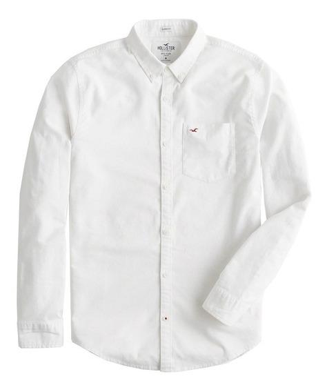 Camisa Social Oxford Masculina Hollister Branco Original P7