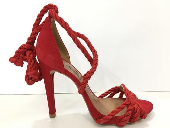 Sandália Feminino Vermelha Corda Salto Alto Fino Maravilhosa