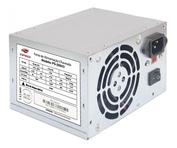 Fonte ATX C3 Tech PS-200V3 110V/220V cinza