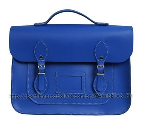 Bolsa Satchel Feminina Azul Royal Retrô Moda Itbag Tendencia
