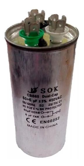Capacitor Dual 60 + 6 Mf 450v Metálico - Aire Acondicionado