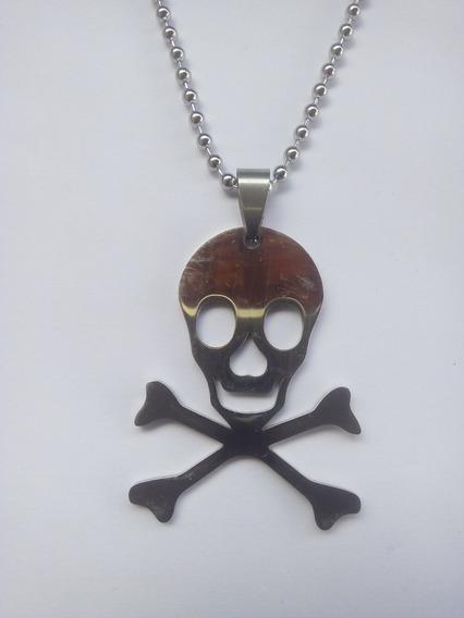 Colar Pingente Caveira Pirata Aço Inoxidável Frete 10,00