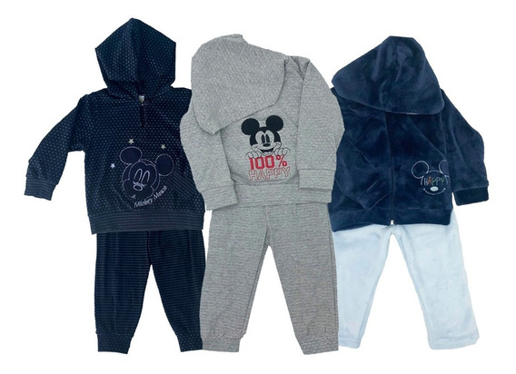 Kit Disney Mickey 3 Conjuntos Con Bordado
