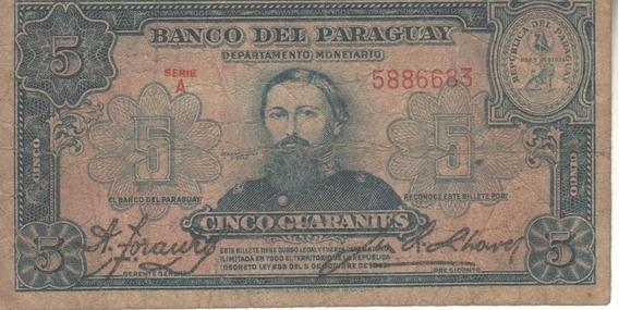 Paraguay Billete 5 Guaraníes Año 1943 - Pick 179