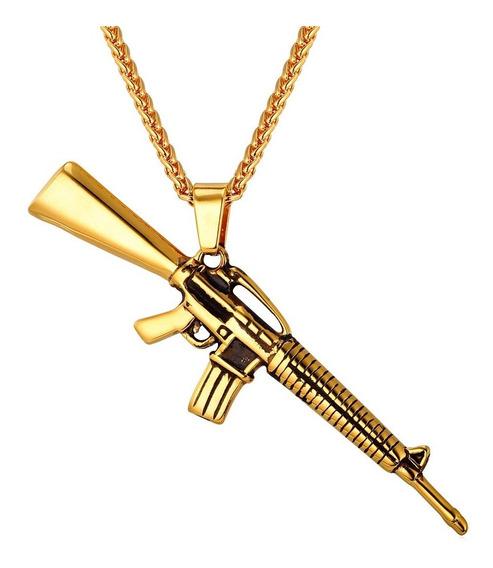 Colar Corrente Pingente Fuzil Ar 15 Dourado Cordão Ouro