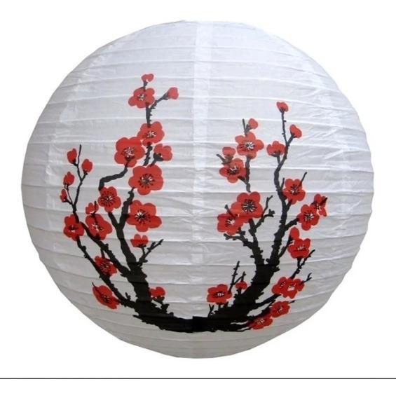 Kit 5 Luminária Japonesa Oriental Cerejeira Sakura 40cm