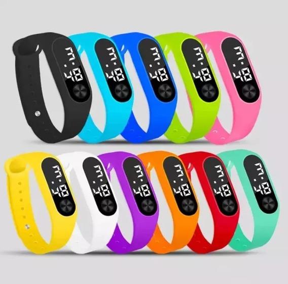 Relógio Led Digital Esporte Bracelete Adulto Infanti Em