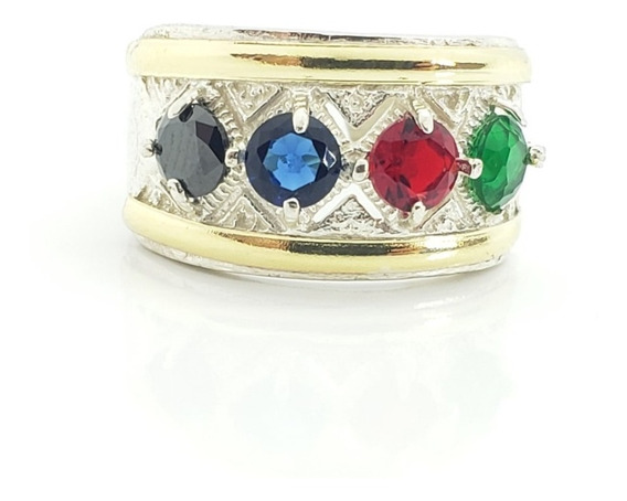 Anillo Plata Combinado En Oro - Multicolor - Ml17-20.5d