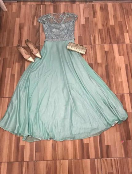 Vestido Para Formatura Ou Casamento Na Cor Verde Água