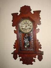 = Relógio Parede Ansonia Caixa Ornamentada Hora E Meia Usa