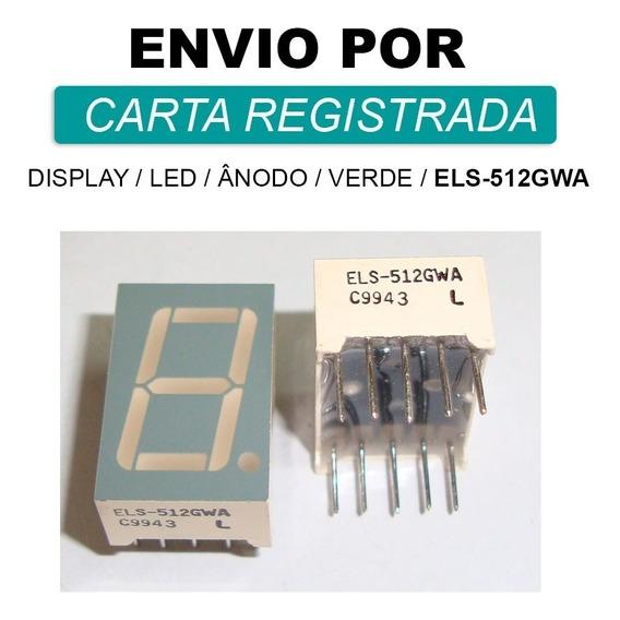 1x Display Led Ânodo Verde 1 Digito 7 Segmentos Els-512gwa