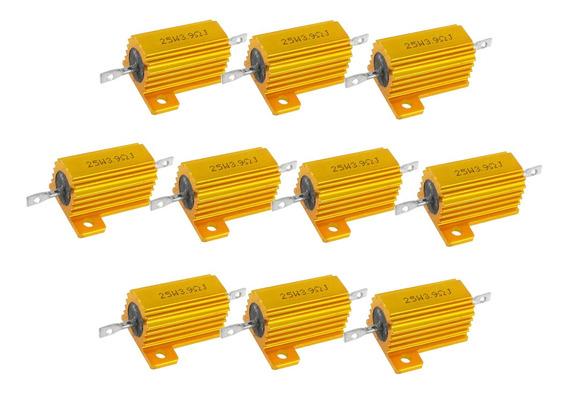 10pcs 25w Alumínio Folheado Power Wirewound Resistores 3.9