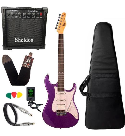 Kit Guitarra Tagima Tg520 Roxo Metalico Amplificador Sheldon