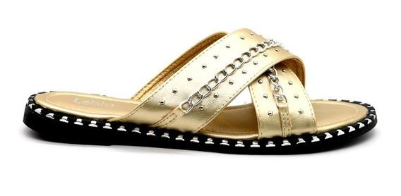 Zapatos Sandalias Mujer Dama Bajas Urbanas Oro Leblu Z150